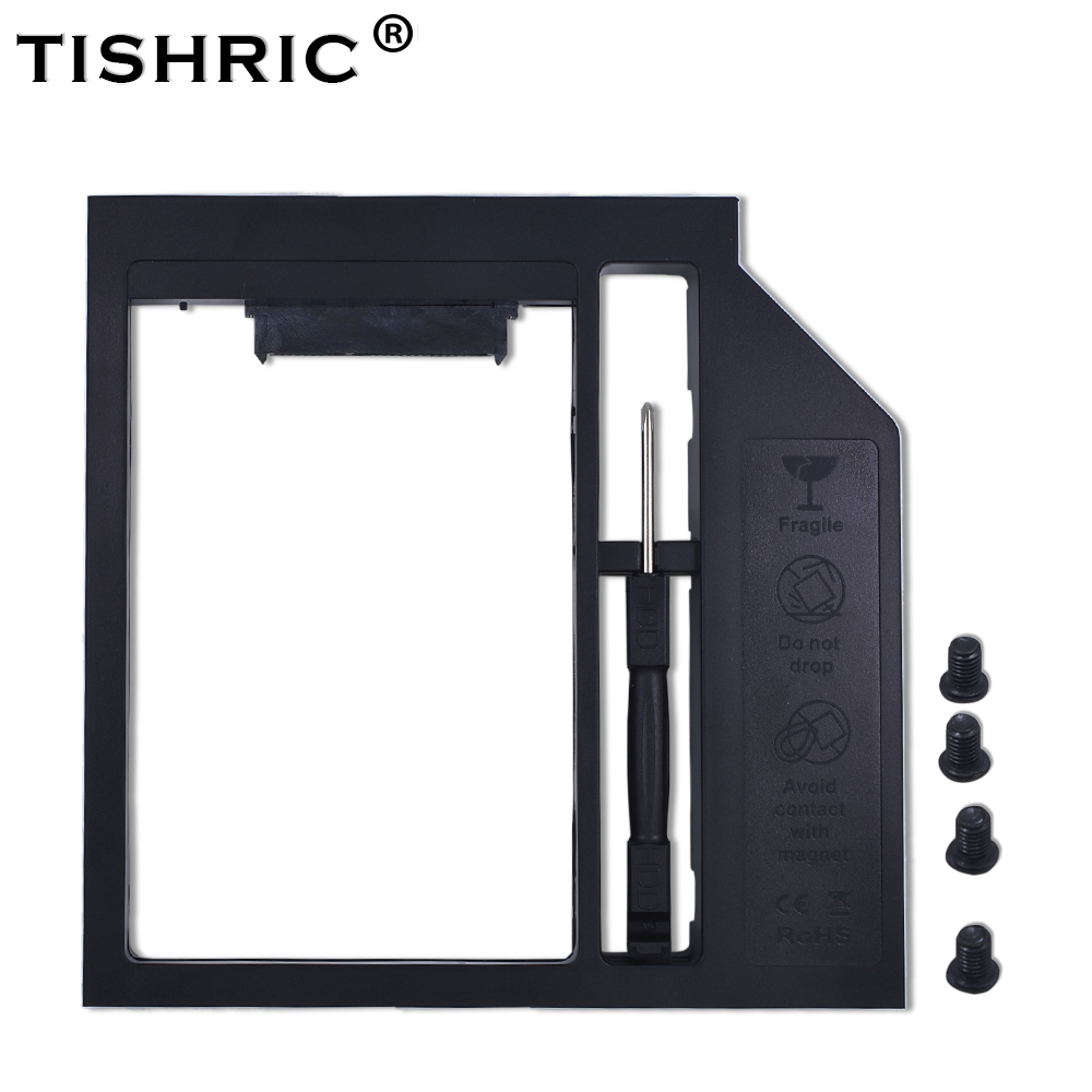 TISHRIC Plastic 2nd HDD Caddy 12.7mm SATA 3.0 For 2.5'' 7/9/12.5mm SSD Box Case Enclosure Adapter For Laptop DVD-ROM Optibay