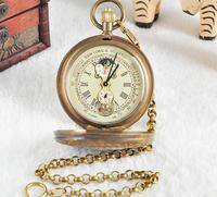 Antique Luxury Bronze Automatic Mechanical Pocket Watches Fashion Mens Cowboy Chain Gift Pocket Watches
