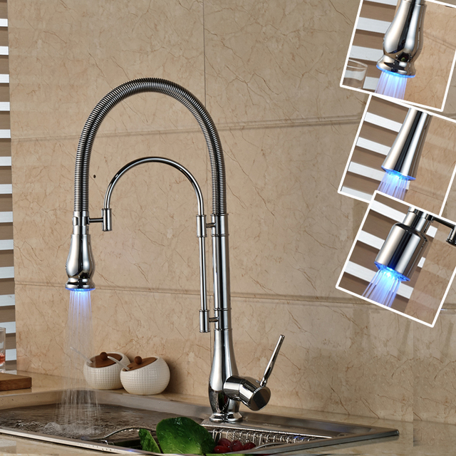 High End Chrome Finish Kitchen Faucet Single Handle With Led Sprayer