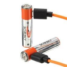 2 ШТ. СОРБО 1.5 В 400 мАч Li-poly Аккумуляторная AAA Батарея с 4 В 1 USB Кабель Зарядного Устройства для RC Игрушки