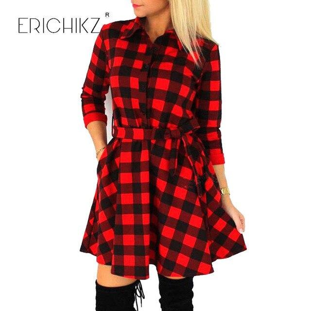 2de9f218c2c ERICHIKZ Autumn Plaid Dresses Explosions Leisure Vintage Dress Fall Women  Check Print Spring Casual Shirt Dress Mini Vestidos