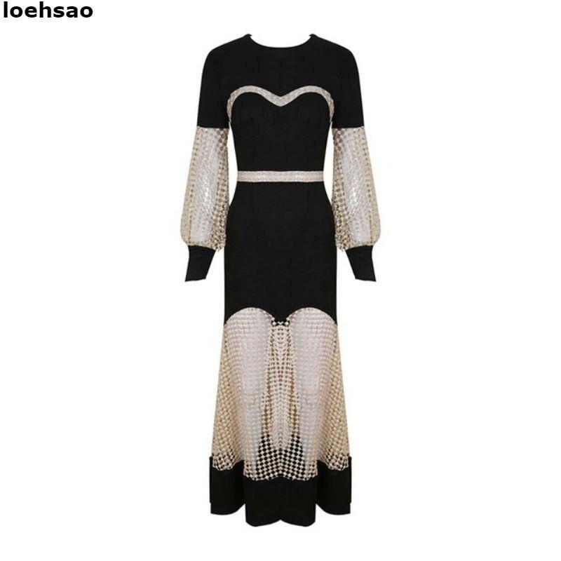 Célébrité Nouveau Lanterne Soirée Élégant Robes O Noir Longue Tricot cou Maxi Femmes Fleurs Manches De Robe RnRqtUwB