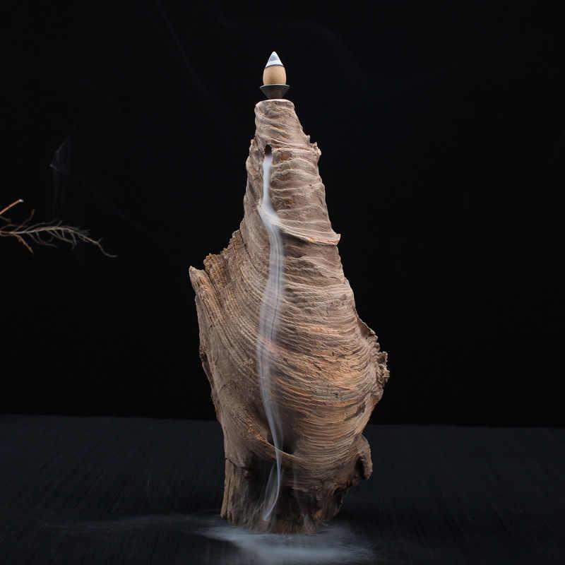 Креативная деревянная курильница, дымовая горная задняя форма, ладан, держатель, конусы, курильница, благовония, домашний декор + 10 шт. конусов, благовония