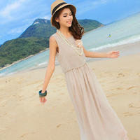 Exclusive S Xxxl 2014 Summer New Hot Sale Women Pleated Bohemia Maxi Long Chiffon Two Pieces
