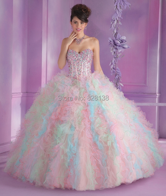 2014 Sweet White Pink Ball Gown Dress for 15 Years Debutante Gown ...