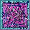 130 cm La canción del unicornio de lujo Francés marca de primavera 100% de la Tela Cruzada ponchos y capas de la bufanda de seda bufandas para Las Mujeres Locales, A107