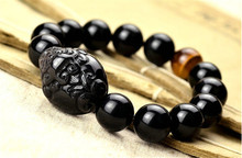 100% Natural Obsidian Agates Beads Stone Bracelet With Carved PiXiu and 1pcs Yellow/Red Tiger Bracelets&Bangle Jewelry