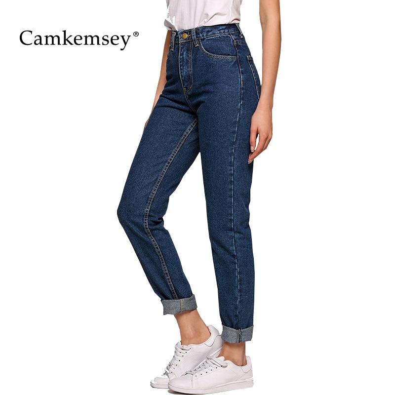 Camkemsey Classic Blue High Waist   Jeans   Woman Vintage Boyfriends Mom   Jeans   Female Casual Ankle-Length Denim Harem Pants Trousers