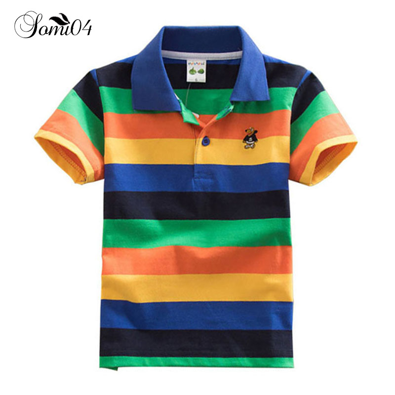 Kids Boy Polo Shirts 2018 Summer New Trendy Colorful Striped Short Sleeve Shirt Children Polo Top 2 4 6 7 10 12 14 Years Clothes все цены