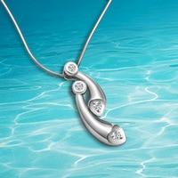 Dames à la mode nouveau style 925 pur argent colliers, blanc zircon goutte d'eau pendentifs, exquis femme collier bijoux.