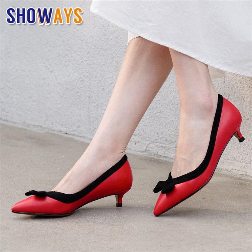 Bowtie Women Pumps Sexy Low Kitten Heels Pointed Toe Red Khaki Microfiber Casual Wedding Dress Office Ladies Sweet Slip-on Shoes