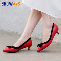 Bowtie Women Pumps Sexy Low Kitten Heels Pointed Toe Red Khaki Microfiber Casual Wedding Dress Office Ladies Sweet Slip on Shoes