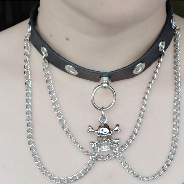 Skull Ghost Leather Torques Chain Choker Necklace Women Jewelry Vintage Cool Christmas Gifts Charms Retro Steampunk Gothic