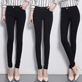 Bom Trecho Magro Meados Cintura Jeans Para Mulheres Magras Calça Jeans mulher Denim Calças Lápis Calças Stretch Cintura Mulheres Jeans Preto Feminina