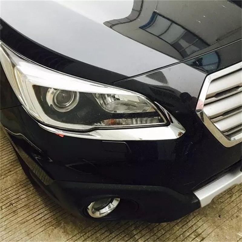Pour SUBARU OUTBACK 2015 ABS CHROME avant tête lumière sourcil paupière garniture lampe couverture voiture style accessoires 3D autocollants