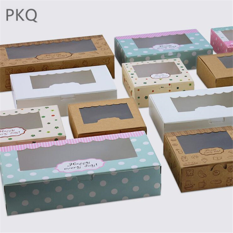 20Pcs Paper Gift Box With Window Wedding Kraft Paper Cake Box Food Packaging Candy Cookies Cupcake Packaging Box Window Cake Box