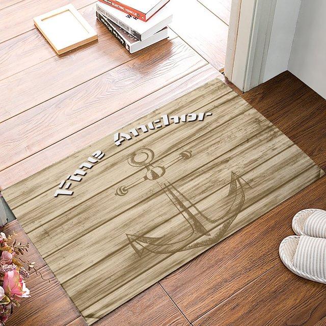 Rustic Wood Board Fine Anchor Door Mats Kitchen Floor Bath Entrance Rug Mat  Absorbent Indoor Bathroom Decor Doormats Rubber