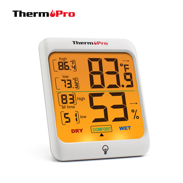 ThermoPro TP53 Hygrometer Thermometer Indoor Humidity & Temperature Monitor with Touchscreen Backlight