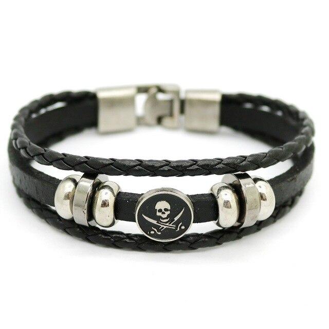 Men S Woven Bracelets 2017 Punk Rock Leather Buckle Zinc Alloy Fashion Casual Skull Bracelet Jewelry
