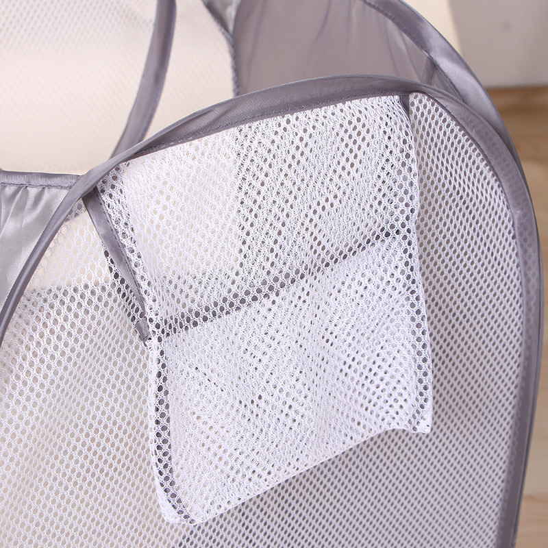 Foldable Pop Up Laundry Basket Washing Clothes Bag Hamper Nylon Mesh Storage Basket in Laundry Bags Baskets from Home Garden