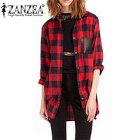 New Style 2015 Womens Classic Black Red Check Plaid Pockets Blouse Long Sleeve Turn Down