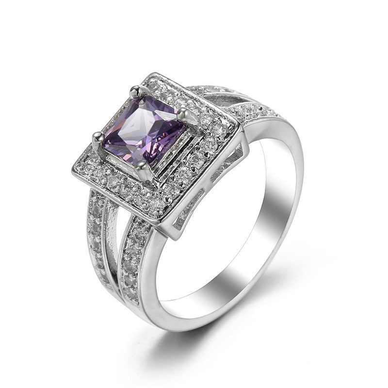 925 Sterling Sliver finger ring for lady paved Purple CZ luxury hot Princess women Wedding Engagement Ring purple color jewelry