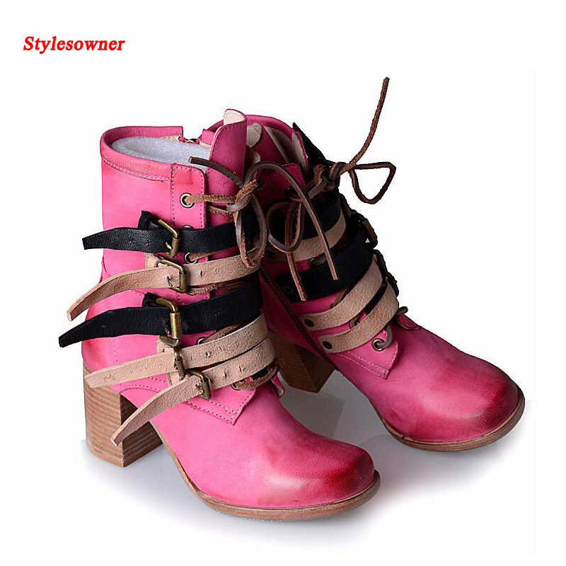 Stylesowner New Winter Women Boots British Style Square Toe Belt Buckle Martin Boots Thick Soled Real Leather Cool Boots short boots woman the fall of 2017 a new restoring ancient ways british wind thick boots bottom students with martin boots