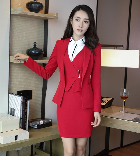 Formal Office Lady Dress Suits For Women Business Suits Red Blazer
