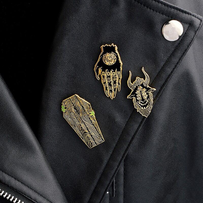 3pcs/set Punk Dark pins Satan Sees All Hand of Doom Coffin Creep Brooch Collar Corsage Shirt bag cap Jacket Pin Badge Gift