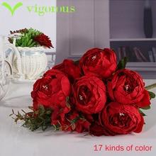 17 цвета Специальная цена Высокое Качество шелковый цветок Европейский Искусственный Цветок Осени Vivid Пион Поддельные Листьев Свадьба Украшения