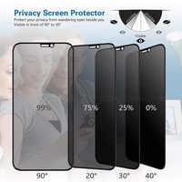 El mejor vidrio templado de privacidad completa de 9H para iPhone X XS MAX XR 6 6S 7 8 Plus 11 Pro Max Protector de pantalla Anti espía de alta definición