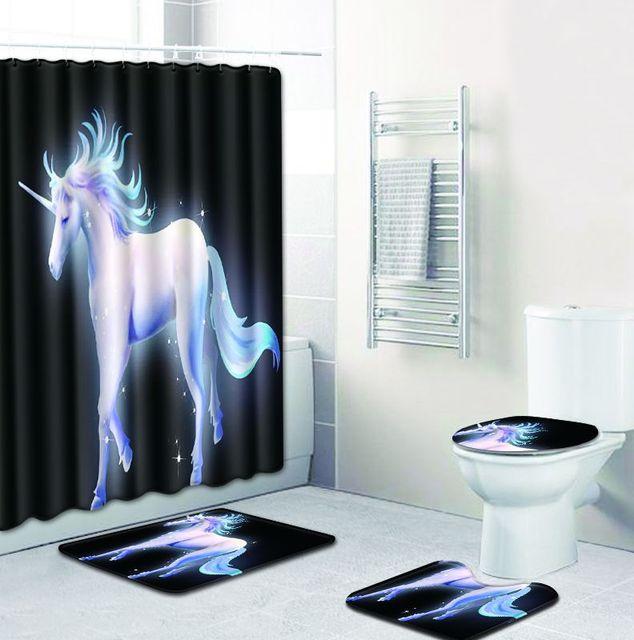 Four Piece Unicorn Christmas Bathroom Shower Curtain And Bath Mat