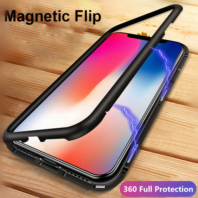 best service de73a 50e55 US $2.83 29% OFF|Magnetic Adsorption Case for IPhone X 8 7 Plus Clear  Tempered Glass Case 360 Full Protection Metal Magnet Flip Cover 2018 New-in  ...