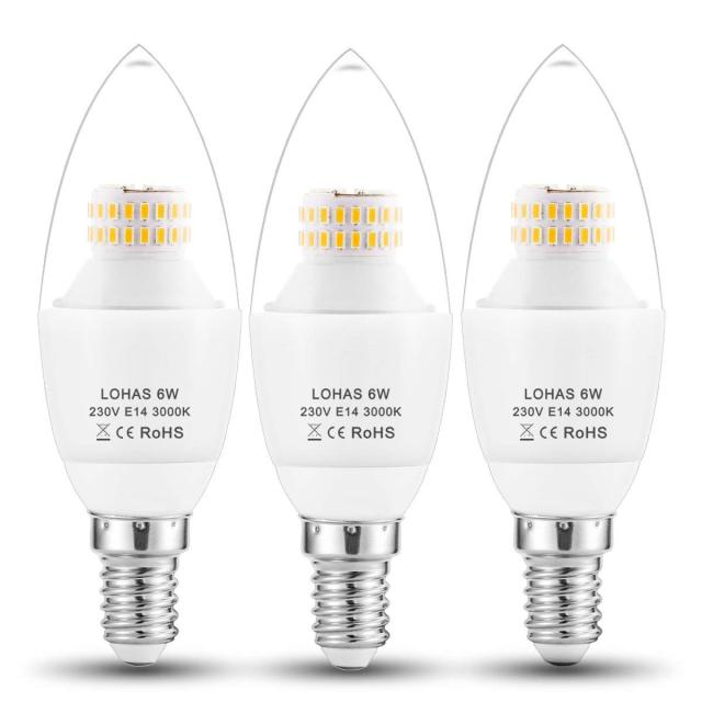 E14 Led Candle Bulbs 6w 60watt Incandescent Bulb Equivalent 550lm Warm White 3000k 6000k Small Edison Light 3pack