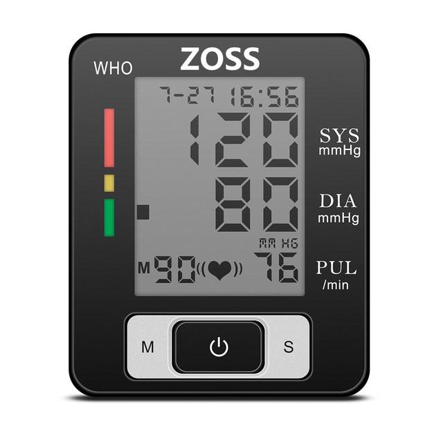 ZOSS  English or Russian Voice Cuff Wrist Sphygmomanometer Blood Presure Meter Monitor Heart Rate Pulse Portable Tonometer BP
