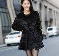 Erope Hot Sale Imitation Rabbit Fur Coat Autumn And Winter Women Jacket O-Neck Long Sleeves Fur Outerwear Slim Thicken Long Tops