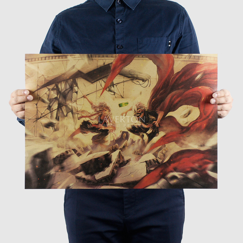 Tokyo Ghoul E Style/classic Japanese Cartoon Comic/kraft paper/Wall stickers/bar Retro Poster/decorative painting 51×35.5cm