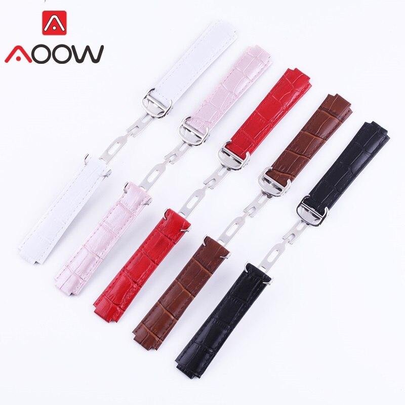 AOOW Leather Watchband for Cartier Ballon Bleu Deployment Buckle Men Women Replacement Band Strap Watch Accessories 14 18 20mm