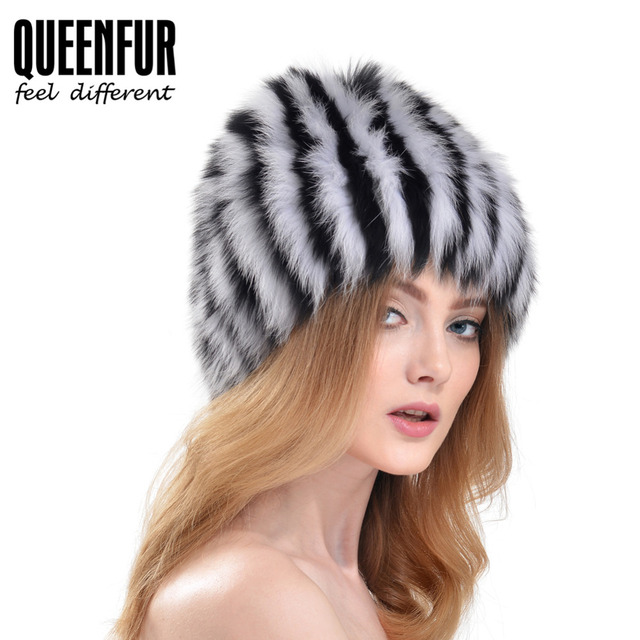 QUEENFUR Good Quality Knitted Fox Fur Hat Real Fox&Raccoon Fur Cap 2016 New Arrivel Woman Real Fur Striped Beanies
