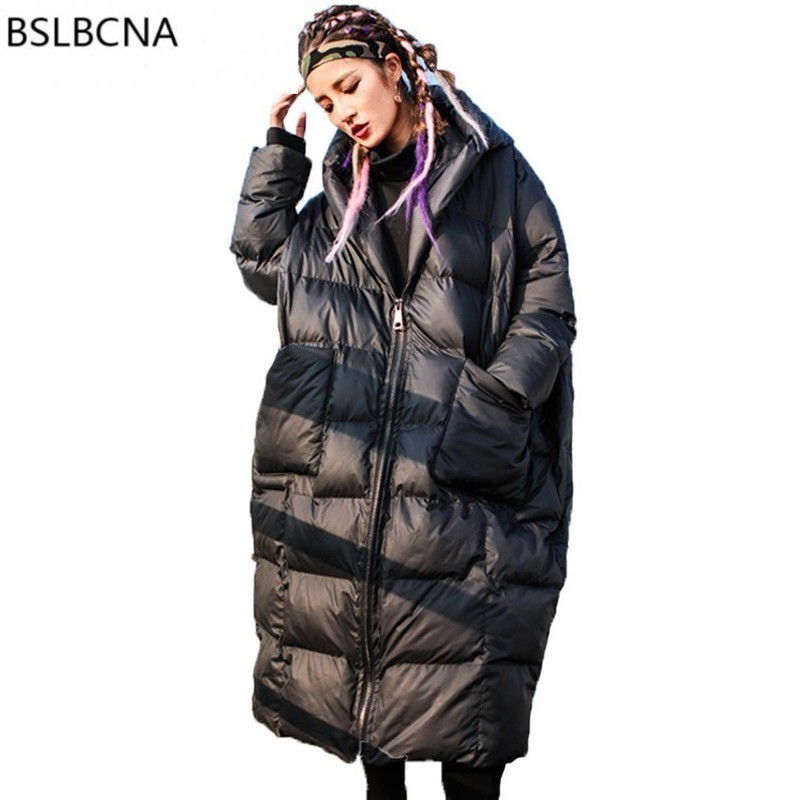 2018 New European Style Coat Female Loose Plus Size Hooded Hat Long Thicker   Parka   Femme Winter Cotton Padded Jacket Women A521
