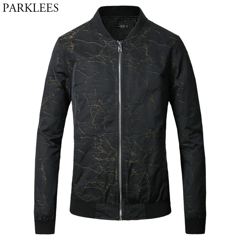 Men Jacket Outerwear 2017 Fashion Print Men Jacket Autumn Winter Mens Jackets Coats Casual Stand Collar Pocket Man Jackets 2XL