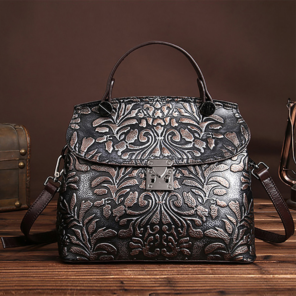Women Vintage Embossed Leather Tote Handbag Genuine Leather Ladies Messenger Casual Bag Luxury Brand Cross Body Shoulder Bags luxury chinese style women handbag embroidery ethnic summer fashion handmade flowers ladies tote shoulder bags cross body bags
