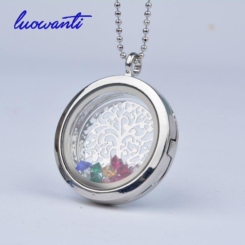 Free Chains Rhinestone Tree Charm 30mm Crystal Pendant Silver Rhinestone Floating locket Memory Living glass Locket
