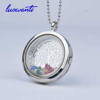 Free Chains Rhinestone & Tree Charm 30mm Crystal Pendant Silver Rhinestone Floating locket Memory Living glass Locket Necklace