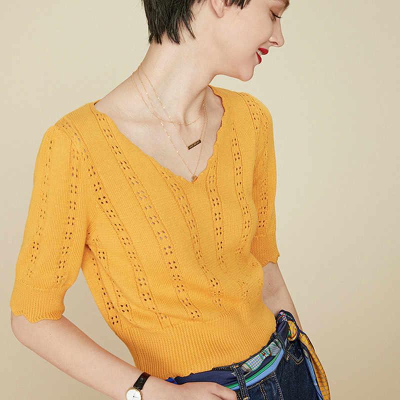 BELIARST 2019 Весна и лето новый v-образный вырез Универсальный полый свитер короткая куртка женский тонкий пуловер свитер