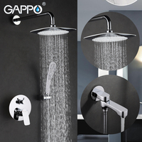 GAPPO Shower Faucet Bath Tap Mixers Chrome Bathroom Mixer In Wall Rainfall Shower Set Wall Mounted