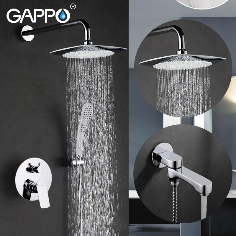 GAPPO Shower Faucet bath tap mixers chrome bathroom mixer in wall rainfall shower set wall mounted bathroom faucet chrome bathroom thermostatic mixer shower faucet set dual handles wall mount bath shower kit with 8 rainfall showerhead