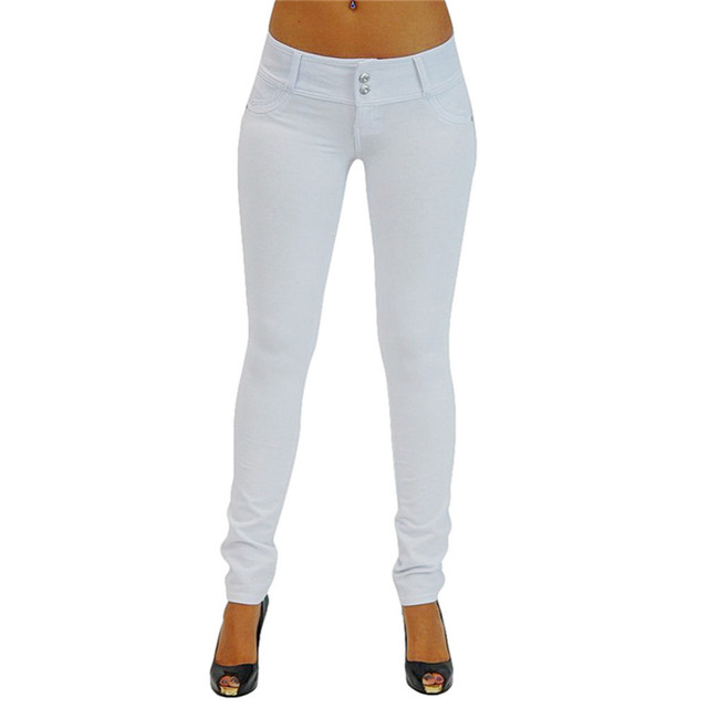 Women's slim Pencil leggings sexy push up jeans Mid waist Solid color cotton Leggins casual trousers for women