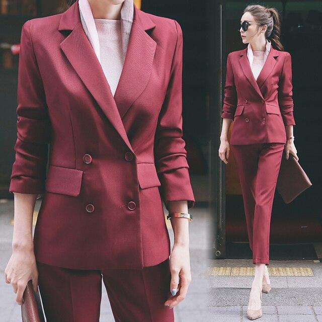 Women Formal Suit Set For Work 2018 Autumn Winter Office Lady Slim Business Pants Suits Coats+Trousers Blazer Set Suit 2 Pieces