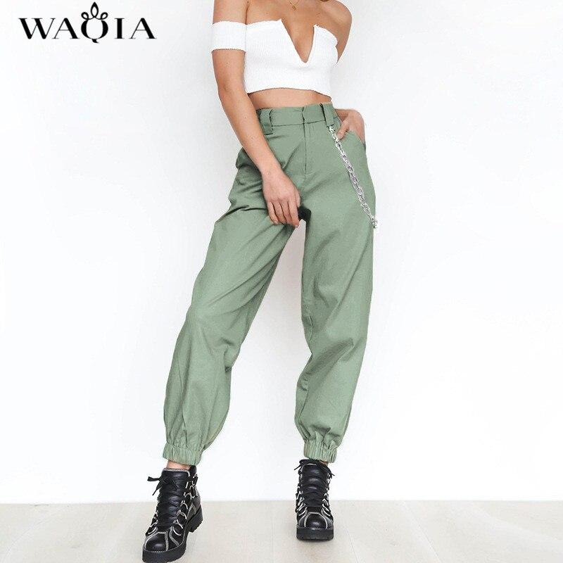 WAQIA 2018 Women Elegant Chain High Elastic Waist Long Harem Pants Casual Baggy Party Trousers Pockets Work Solid Loose Pantalon